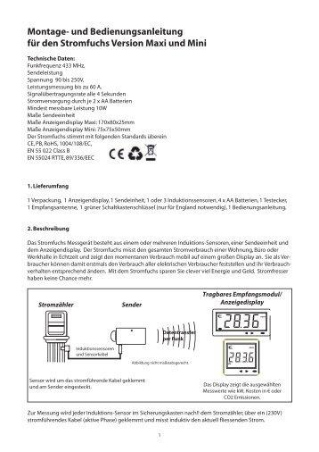und Bedienungsanleitung für den Stromfuchs Version Maxi und Mini