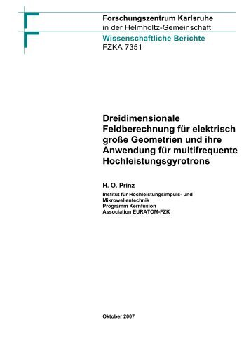 "Dreidimensionale Feldberechnung fâ""–r elektrisch groe Geometrien ..."