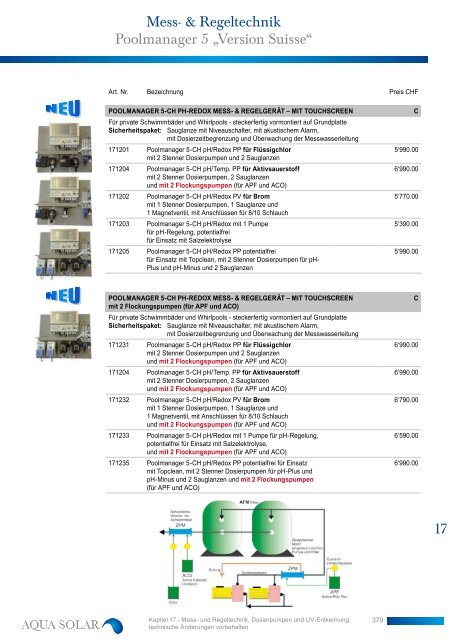 "Mess- & Regeltechnik Poolmanager 5 ""Version ... - Aqua Solar AG"