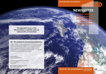 NEWSLETTER - Institute for Environmental Decisions IED