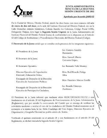 Minuta - Instituto Electoral del Distrito Federal