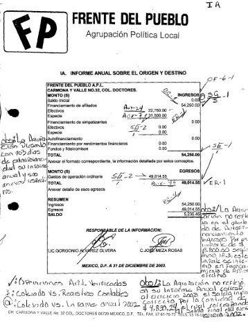 Page 1 FRENTE DEL P'uEDLD Agrupación Politica Local IA ...