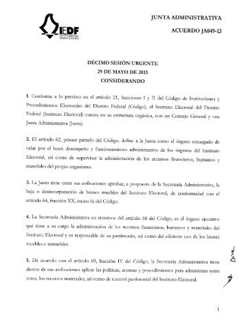 ACUERDO JA049-13 - Instituto Electoral del Distrito Federal