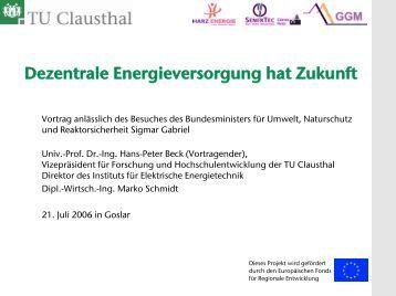 Virtuelles Kraftwerk Harz - Institut für Elektrische Energietechnik - TU ...