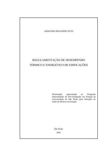 REGULAMENTAÇÃO DE DESEMPENHO TÉRMICO E ... - IEE/USP