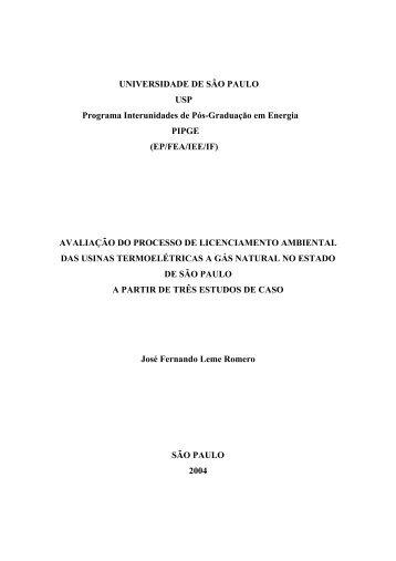 Avaliação do processo de licenciamento ambiental das ... - IEE/USP