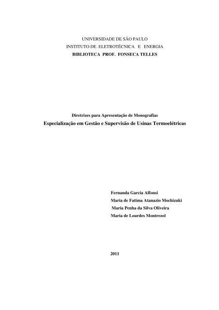 Diretrizes para Apresentação de Monografia - IEE/USP
