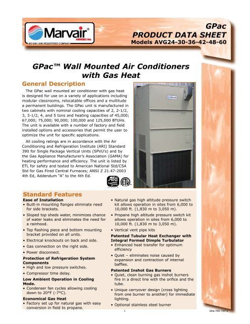 """GPacâ""""¢ Wall Mounted Air Conditioners with Gas Heat"""