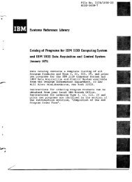 Systems Reference Library Catalog of Programs for IBM 1130 ...
