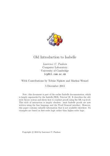 Old Introduction to Isabelle - The Computer Laboratory - University ...