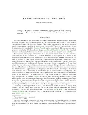 Priority arguments via true stages - Mathematics - University of ...