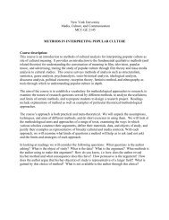 New York University Media, Culture, and ... - NYU Steinhardt