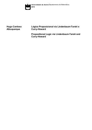 Hugo Cardoso Albuquerque Lógica Proposicional via Lindenbaum ...