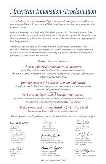signatory to the American Innovation Proclamation - IEEE-USA