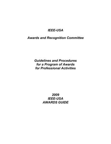 IEEEUSA Awards and Recognition Committee Guidelines and ...