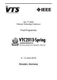 Final Programme 2 – 5 June 2013 Dresden, Germany - ieeevtc.org