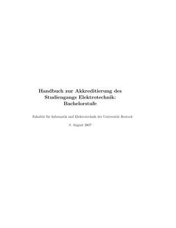 Handbuch zur Akkreditierung des Studiengangs Elektrotechnik ...