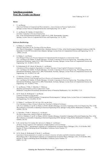 Schriftenverzeichnis Prof. Dr. Ursula van Rienen - Fakultät für ...