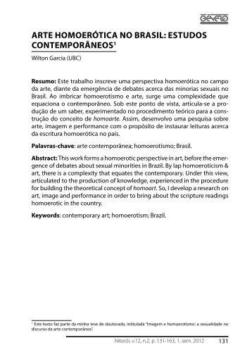 ARTE hOMOERÓTICA NO bRASIL: ESTUDOS CONTEMPORâNEOS1