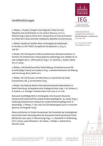 Liste der Veröffentlichungen der Forschungsstelle mit Rezensionen