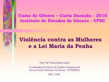 Violência contra as Mulheres e a Lei Maria da Penha - Instituto de ...