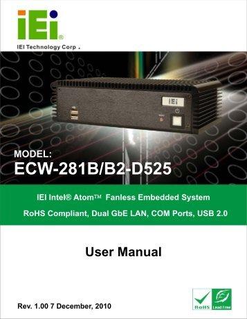 ECW-281B/B2-D525 Embedded System - iEi