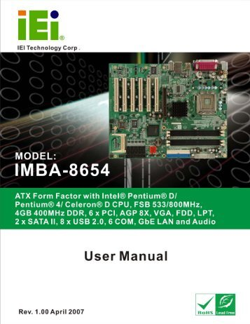 IMBA-8654 User Manual - iEi