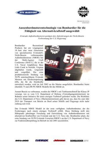 Aussenbordmotorentechnologie von Bombardier für die Fähigkeit ...