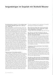 Gespräch mit Reinhold Messner - Berg und Steigen