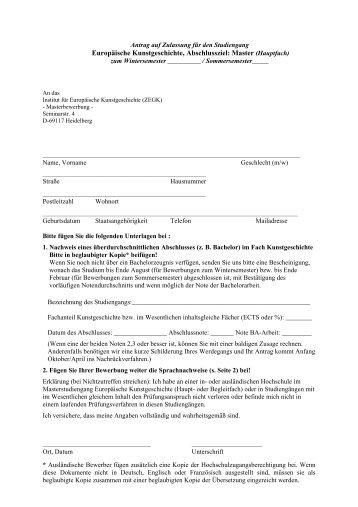 Antrag auf Zulassung unser Formular - Institut für Europäische ...