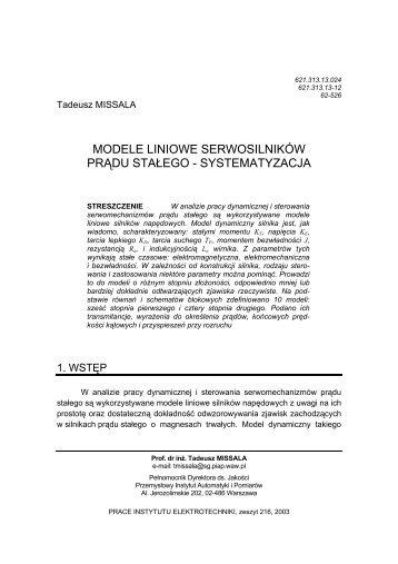 modele liniowe serwosilników prądu stałego - systematyzacja