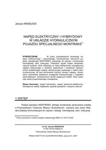 napęd elektryczny i hybrydowy w układzie hydraulicznym pojazdu ...
