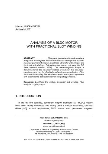 ANALYSIS OF A BLDC MOTOR WITH FRACTIONAL SLOT WINDING