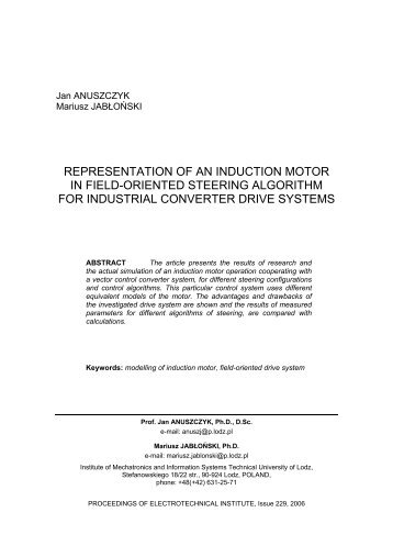 representation of an induction motor in field-oriented steering ...