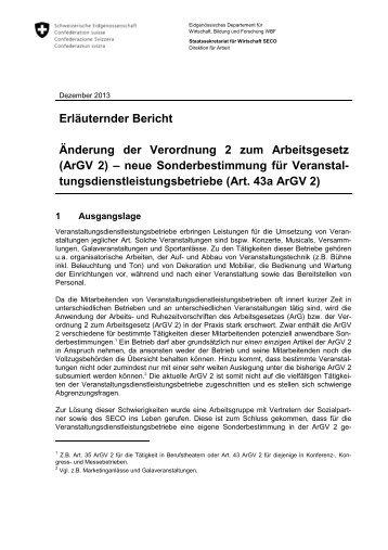 Erläuternder Bericht Änderung der Verordnung 2 zum ... - admin.ch