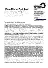 offener Brief an Verdi-Essen