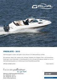 PREISLISTE – 2013 - zu Boote Pfister