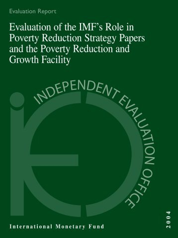 Evaluation of the IMF's Role in Poverty Reduction Strategy Papers ...