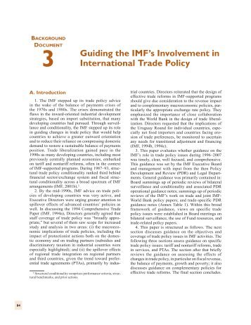 III. Guiding the IMF's Involvement in International Trade Policy