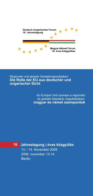 Deutsch-Ungarisches Forum 18. Jahrestagung - Institut für ...