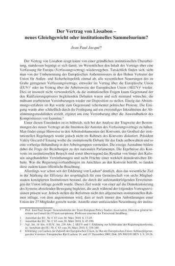 Der Vertrag von Lissabon: neues Gleichgewicht oder institutionelles ...