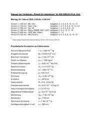 """Klausur zur Vorlesung """"Physik für Ingenieure"""" im WS 2003/04 (Prof ..."""