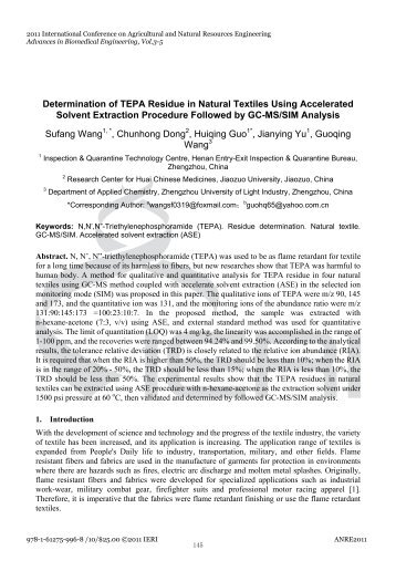 Determination of TEPA Residue in Natural Textiles Using ...