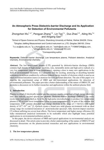 An Atmospheric Press Dielectric-barrier Discharge and its ...