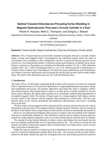 Optimal Transient Disturbances Preceding Vortex Shedding in ...
