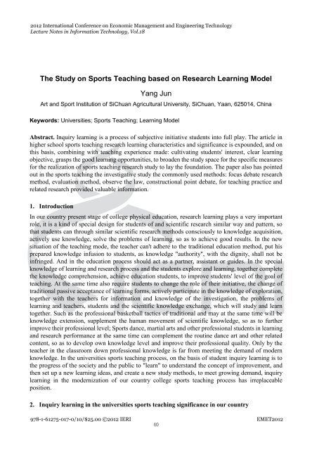 The Study on Sports Teaching based on Research Learning Model ...