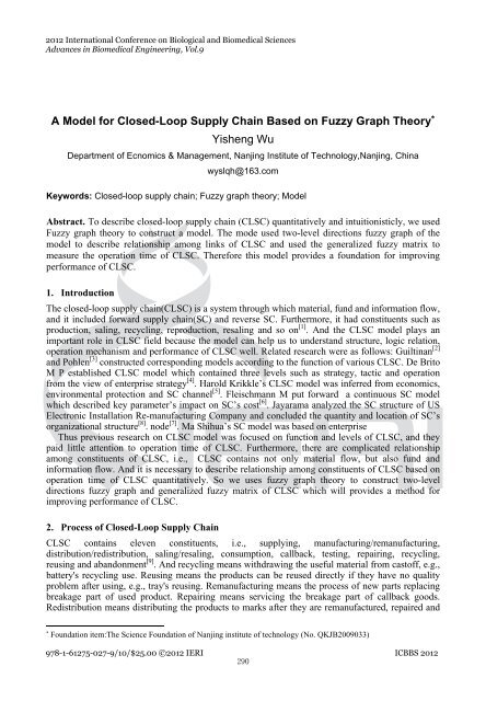 A Model for Closed-Loop Supply Chain Based on Fuzzy Graph ...
