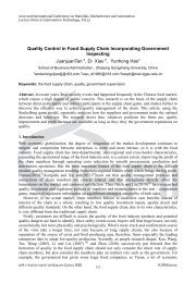 Quality Control in Food Supply Chain Incorporating Government ...