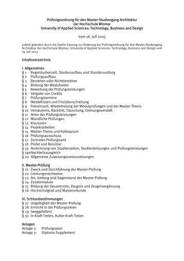 Prüfungsordnung - Hochschule Wismar