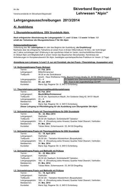 Ausbildungsprogramm 2013/14 - Skiverband Bayerwald